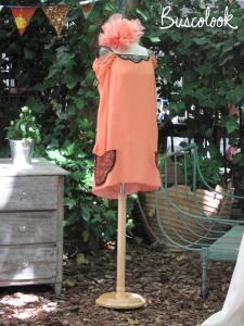 vestido naranja con encaje negro de bebas closet colección otoño invierno 2011