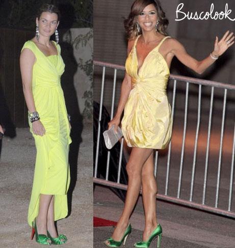 eva longoria vestido amarillo con zapatos verdes
