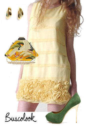 look boda vestido amarillo con zapatos verdes