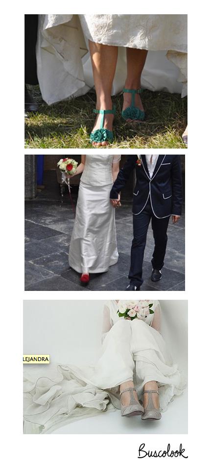 tres novias con zapatos de chie mihara en color turquesa rojo topo
