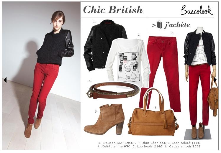 pantalon vaquero rojo pitillo cazadora rockera look british