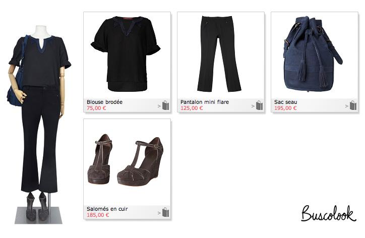pantalon negro capri campana zapatos pulsera plataforma ante gris