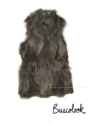 chaleco de zorro gris negro