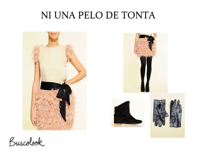 Outlter-mango-bilbao-falda-plumas-guantes-brillo-botines