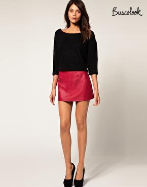 falda de cuero roja otoño 2011