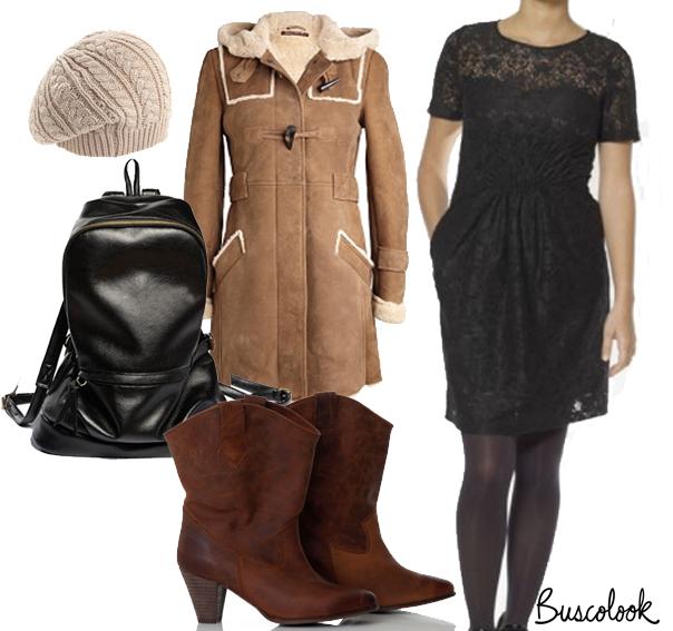 vestido see u soon abrigo piel vuelta comptoir des cotonniers botas malababa mochila negra romwe