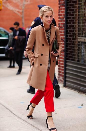 camel coat + bright skinnies