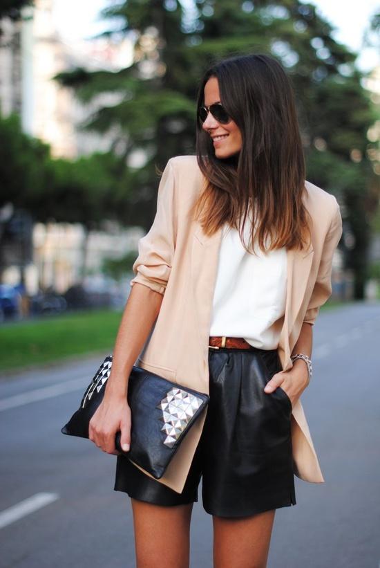 blazer-short de cuero