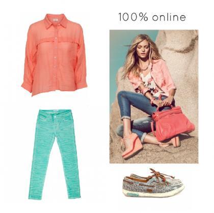 pantalon-azul-turquesa-camisa-coral-