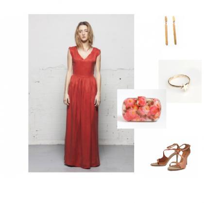look-boda-rojo-vestido-largo-sandalias-nude-noche-bolso-flores