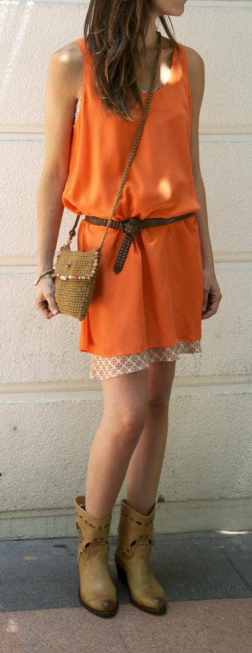 vestido naranja look