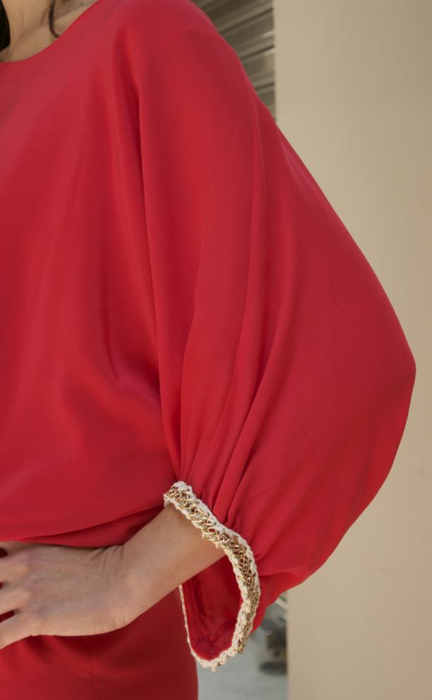 vestido rojo manga