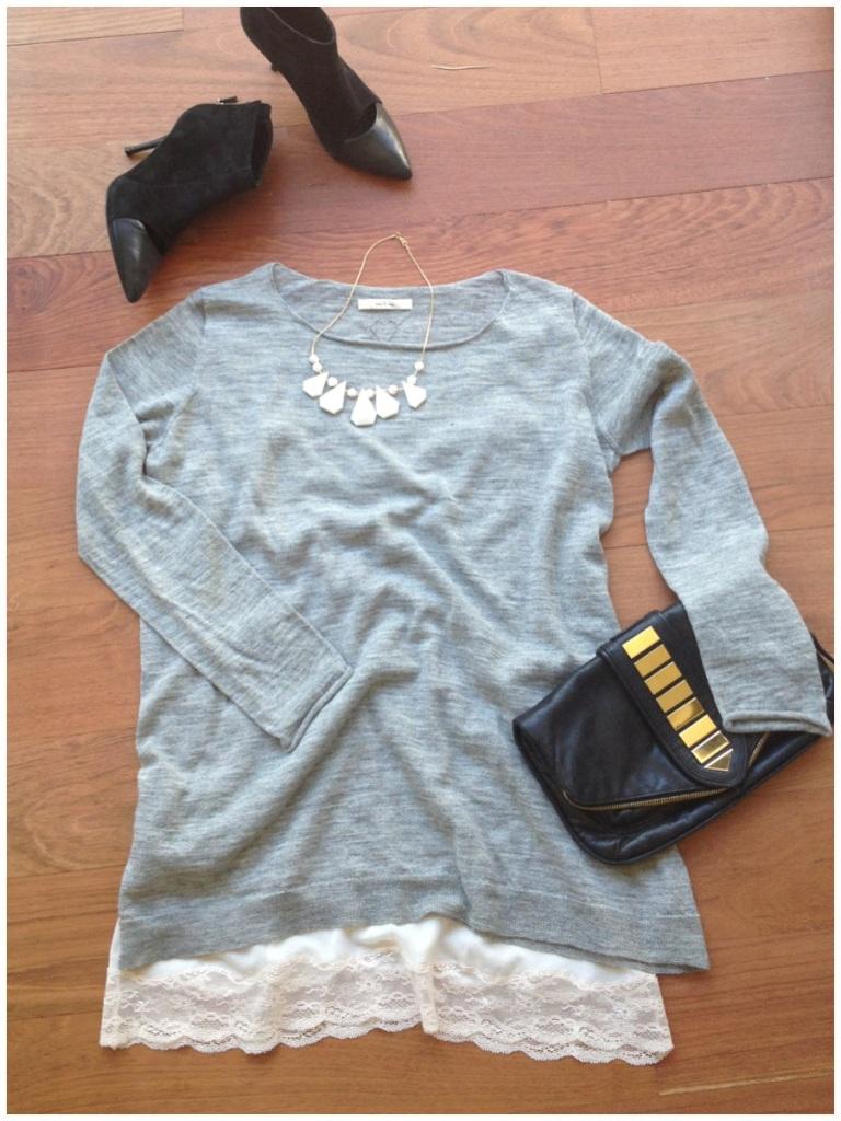 vestido-gris-eseoese-vestido-lencero-look-botines-maje-collar-pedrusco