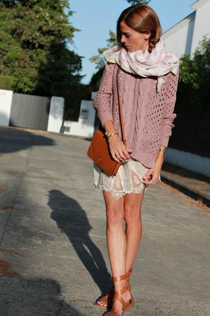 vestido lencero y jersey rosa 3