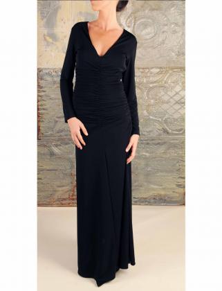 Vestido-largo-negro-drapeado-buscolook-barcelona