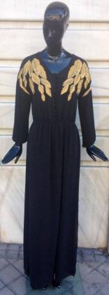 vestido-largo-negro-drapeado-papaya-madrid-buscolook