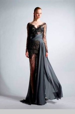 zuhair-murad-fall-2010-rtw-longsleeve-v-neck-lace-gown-with-silk-draped-front-and-sheer-skirt-profile